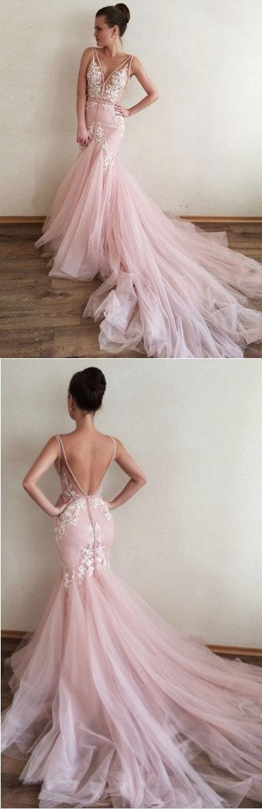 light pink mermaid v-neck open back long evening dress,HB157