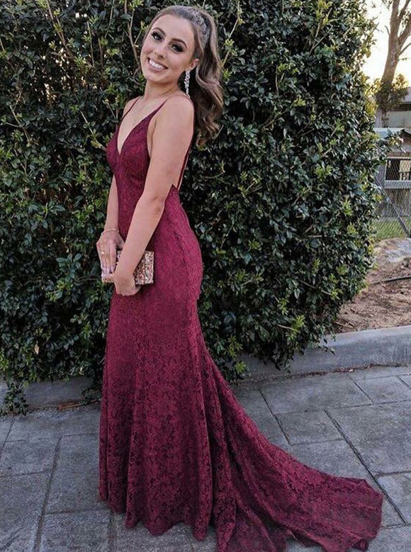 spaghetti straps v-neck burgundy lace mermaid long prom dress,HB150