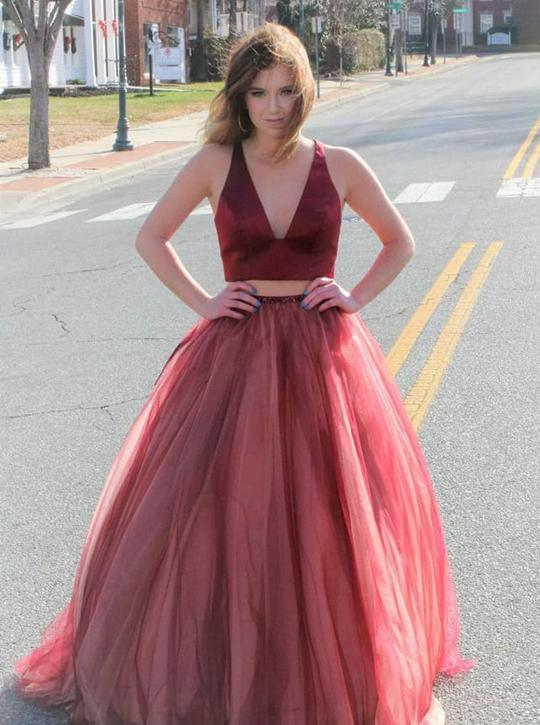 chic popular two pieces red v-neck tulle long prom dress,HB151