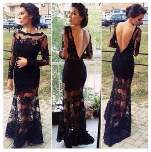 Black prom Dress,Lace Prom Dresses,2016 prom Dress,Long sleeves Backless prom dress,Evening dress,BD044