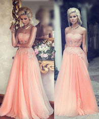 Long prom Dress,Peach Prom Dresses,2016 prom Dress,Charming prom dress, Evening dress,BD048  alt=