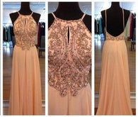 Blush Pink prom Dress,Charming Prom Dress,beading prom dress,Chiffon prom dress,evening dress,BD025  alt=