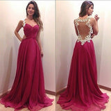Hot pink prom Dress,Long Prom Dresses,2016 prom Dress,Chiffon prom dress,Backless Evening dress,BD047
