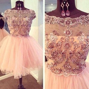 Short prom Dress,Charming Prom Dresses,Pink prom Dress,homecoming dress,Party dress,BD051