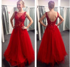red prom Dress,charming Prom Dress,lace prom dress,A-line prom dress,long prom dress,BD905
