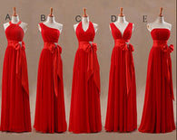 Mismatched Bridesmaid Dress,Long Bridesmaid Dress,Chiffon Bridesmaid Dress,Red Bridesmaid Dress, BD128  alt=