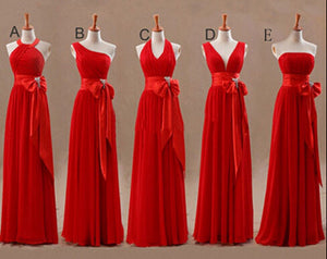 Mismatched Bridesmaid Dress,Long Bridesmaid Dress,Chiffon Bridesmaid Dress,Red Bridesmaid Dress, BD128