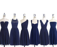 Mismatched Bridesmaid Dress,Short Bridesmaid Dress,Chiffon Bridesmaid Dress,Navy Bridesmaid Dress, BD126  alt=