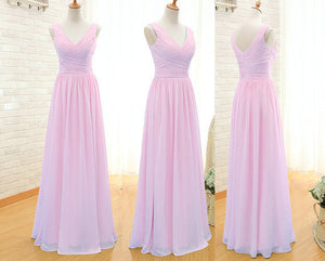 Pink Bridesmaid Dress,Floor-Length Bridesmaid Dress,Chiffon Bridesmaid Dress,Cheap Bridesmaid Dress, BD124