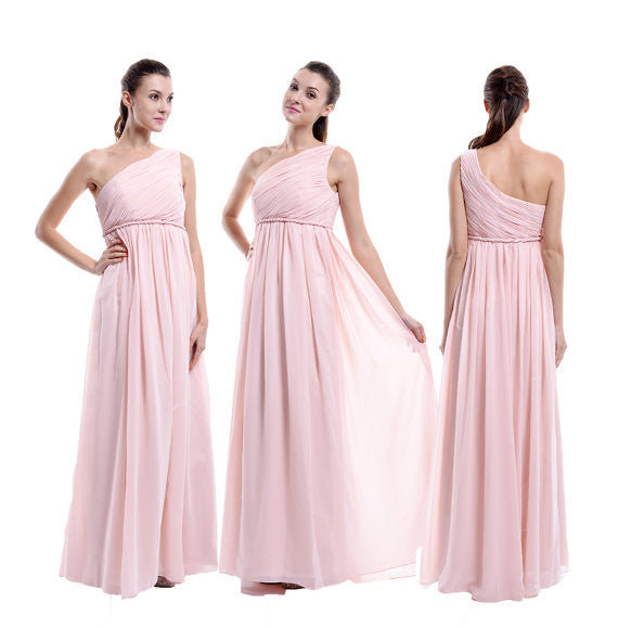 pink bridesmaid dress,long bridesmaid dress,one shoulder bridesmaid dress,chiffon bridesmaid dress,BD807