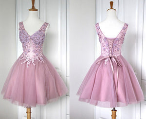 short Prom Dresses,lace up Prom Dress,lavender prom dress,charming prom Prom,homecoming Dress,BD1104