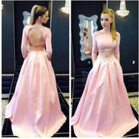 pink prom Dress,two pieces Prom Dress,charming prom dress,party dress,Long prom dress,BD1028  alt=