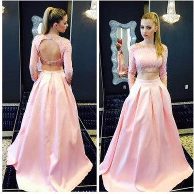 pink prom Dress,two pieces Prom Dress,charming prom dress,party dress,Long prom dress,BD1028
