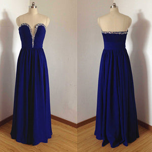 royal blue prom Dress,chiffon Prom Dress,cheap prom dress,evening dress,Long prom dress,BD1027