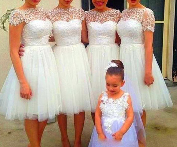 short bridesmaid dress,white bridesmaid dress,short sleeves bridesmaid dress,tulle bridesmaid dresses,BD834