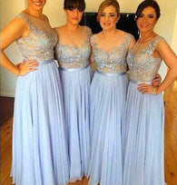 blue bridesmaid dress,long bridesmaid dress,lace top bridesmaid dress,cheap bridesmaid dress,BD847  alt=