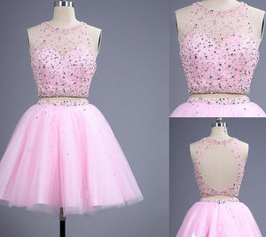 Short prom Dress,Charming Prom Dresses,Pink prom Dress,homecoming dress,Party dress for girls,BD158
