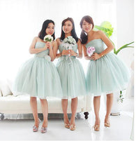 dusty green bridesmaid dress,short bridesmaid dress,mismatched bridesmaid dress,tulle bridesmaid dress,BD1648  alt=
