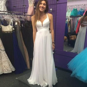 white prom Dress,long Prom Dress,simple prom dress,2016 prom dress,evening dress,BD1408