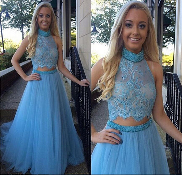 blue prom Dress,two pieces Prom Dress,high neck prom dress,long prom dress,party dress,BD1413