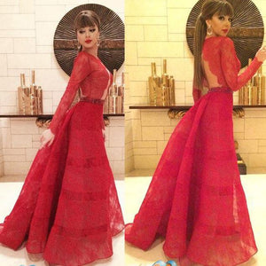 red prom Dress,A-line Prom Dresses,long sleeves prom dress,floor-length prom dress,party dress,BD1663