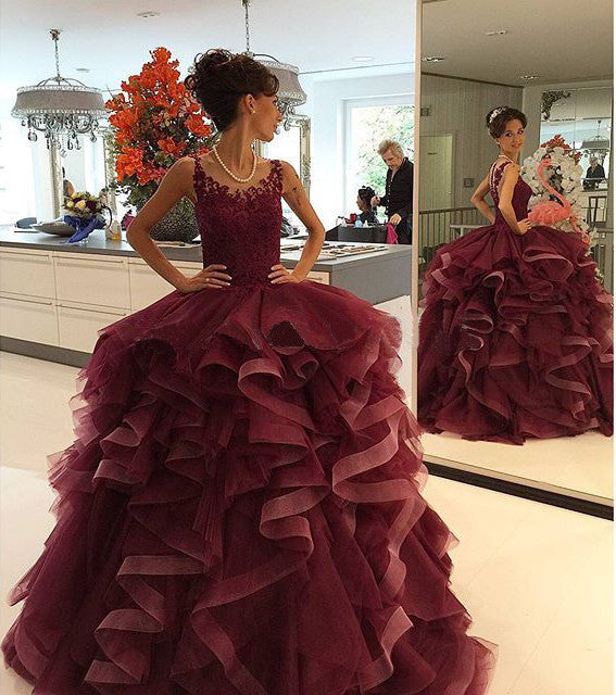 burgundy prom Dress,A-line Prom Dresses,long prom dress,2016 party dress,BD1665