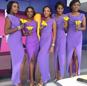 purple bridesmaid dress,long bridesmaid dress,chiffon bridesmaid dress,slit bridesmaid dress,BD1600