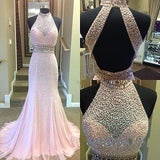 pink Prom Dresses,beaded prom dress,charming prom Dress,high neck prom dress,new arrive prom gown,BD2414