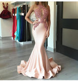 mermaid Prom Dresses,lace applique prom dress,charming prom Dress,pink prom dress,new arrive evening dress,BD2415