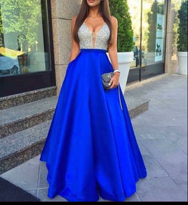 royal blue Prom Dresses,beaded prom dress,charming prom Dress,A-line prom dress,formal evening gown,BD2419