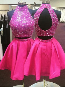 short prom dress,hot pink prom dress,beaded prom dress,two pieces prom dress,junior party dress,homecoming dress,BD2627