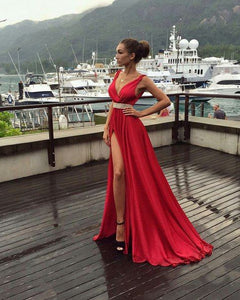 red Prom Dresses,v-neck prom dress,side slit prom Dress,long prom dress,charming evening gown,BD2421