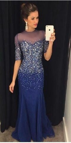 royal blue Prom Dresses,long prom dress,beaded prom Dress,charming prom dress,formal evening gown,BD2428