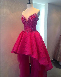 hot pink prom dress,hi-lo prom dress,unique prom dress,party dress 2017,new arrive homecoming dress,graduation dress,BD2625
