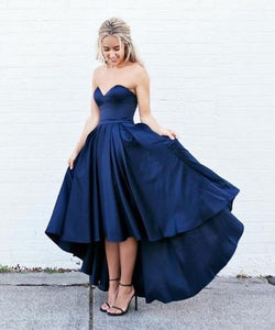 navy blue Evening Dress,sweetheart Prom Dress,hi-lo prom dress,party dress for teens,homecoming dress,BD2703
