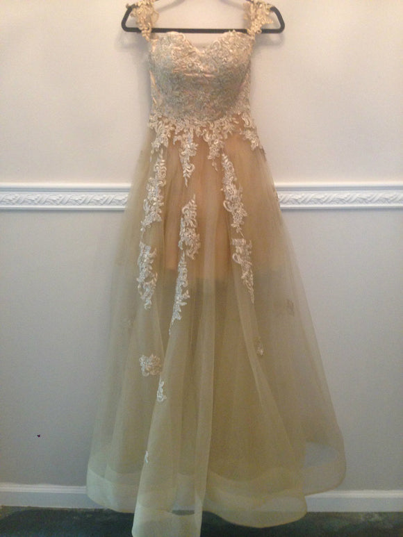 champagne tulle with lace appliques long evening dress popular prom dress,HB59