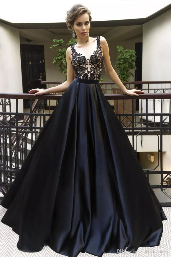 chic black satin with lace appliques A-line charming long prom dress,HB60