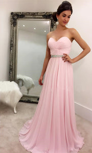 pink chiffon cheap simple long sweetheart prom dress,HB57