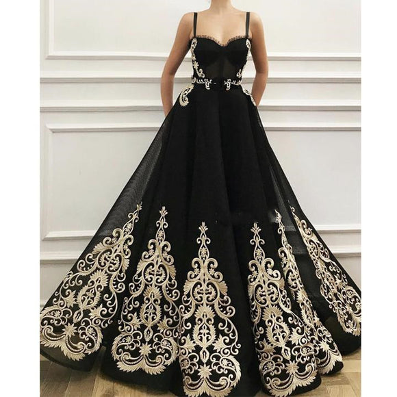 Spaghetti Straps 2019 Black Tulle Classic A-line Long Ball Gown,BO17