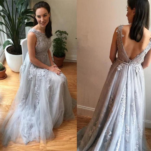 beauty light grey tulle with lace appliques long evening dress ,BD3110