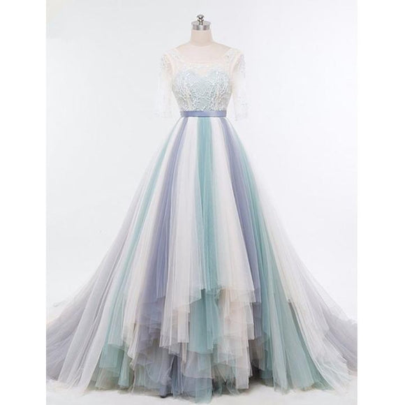 gradient color tulle long A line prom dress, 2019 long sleeves ball gown ,BD3106