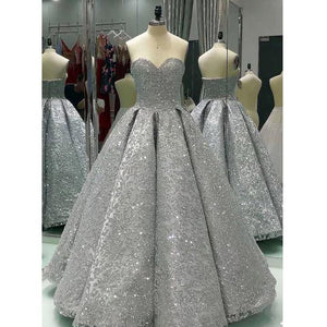 Sweetheart Gray Lace A-line Long formal princess Prom Dresses,HO90