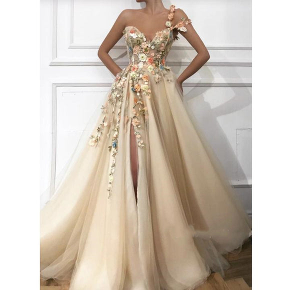 One Shoulder Champagne Tulle Side Slit Long Prom Dress With Floral Appliques,BO16