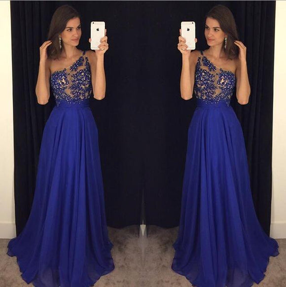 royal blue chiffon one shoulder charming long prom dress,HB61