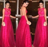 hot pink Evening Dress,formal Prom Dress,lace prom dress,see through back prom dress,charming evening dress,BD2962