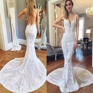 elegant long white backless mermaid long wedding dress, HB204