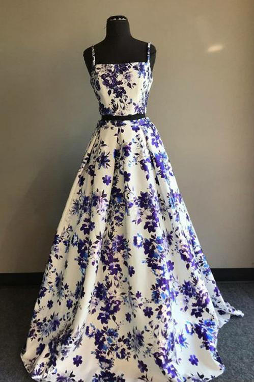 spaghetti straps prom dress, long prom dress, A-line prom dress, floral evening gown, BDD006