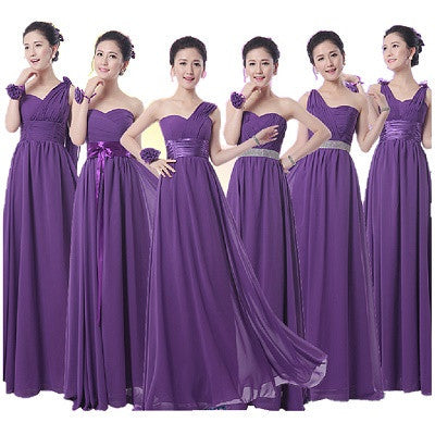 purple bridesmaid dress,long bridesmaid dress,mismatched bridesmaid dress,chiffon bridesmaid dress,BD1640