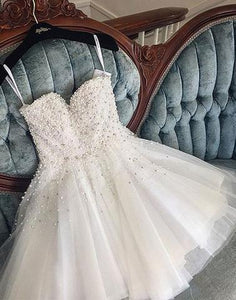 Cute white pearls tulle short prom dress, homecoming dress,BD3111