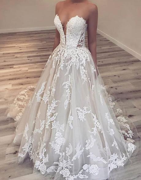 white strapless long prom dress with lace appliques elegant wedding dress,HB109